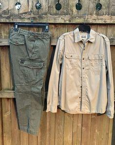 c47d68fd43d8 Timberland Men s size 34x28 Vintage Camping-Cargo Pants + Converse Shirt  Size M