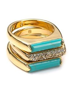 Turquoise and Pave Bar Stackable Rings