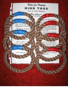 "Another picture of ""home- made"" rope rings for ring toss game."