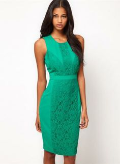 Green Day Dress - Bqueen Green Lace Round Neck