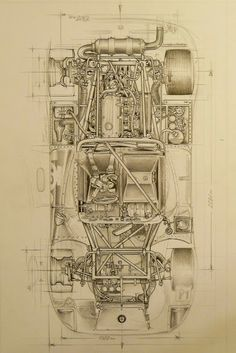 The cutaway drawing and its artists - Page 260 - The Nostalgia Forum Technical Illustration, Car Illustration, Technical Drawings, Cutaway, Vintage Racing, Vintage Cars, Supercars, Car Posters, Car Sketch