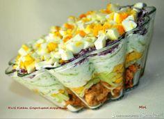 Super przepis na sałatkę drobiową z tzatziki. Polish Recipes, Meat Recipes, Salad Recipes, Cooking Recipes, Healthy Recipes, Tzatziki, Appetizer Salads, Creative Food, I Love Food