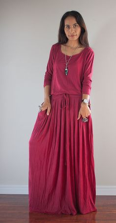 Red Dress   Long Sleeved Red Maxi dress  Autumn Thrills by Nuichan, $59.00