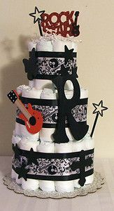Musical Baby Shower | ... Diaper Cake ROCK STAR Black,White & Red MUSIC Baby Shower Centerpiece