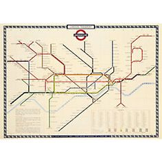 "Cavallini London Underground Map Wrapping Paper  20"" x 28"""