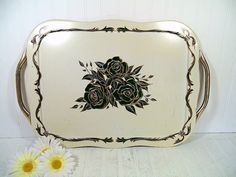 Vintage Gold & Black Roses ToleWare on Ivory Metal Oversized Serving Tray - Mid Century Shabby Chic Very Large Tray with Gold Tone Handles $29.00 by DivineOrders