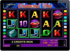 Игровой автомат на реальные деньги Diamond Trio в казино онлайн.  Классический, яркий и привлекательный игровой автоматDiamond Trio о приключениях топ-моделей, которые любят драгоценные камни. Компания-производитель Novomatic Gaminator предлагает любителям азарта выиграть реал� Thing 1, Diamond, Diamonds