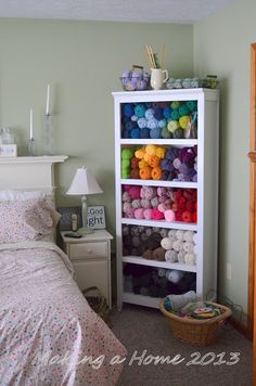 A bookcase like this one is a beautiful way to store your stash! Making A Home: my yarn storage solution