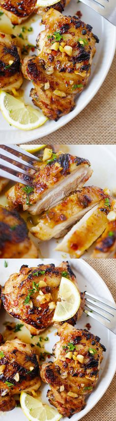 #laborday Lemon Garlic chicken – juicy, moist and delicious chicken marinated with lemon and garlic and grill to perfection. So easy and so good! | rasamalaysia.com