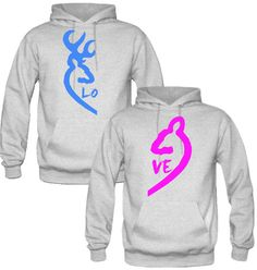 Browning Deer Love Couple Hoodies - TeeeShop
