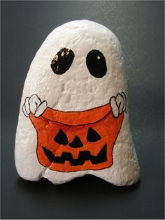 Halloween Trick-or-Treat Ghost jack-o-lantern sack hand painted rock, rock art, OOAK