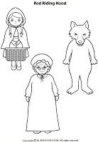 Little Red hood figures Little Red Ridding Hood, Red Riding Hood, Red Hood Figure, Fairy Tale Crafts, Puppets For Kids, Pattern Coloring Pages, Princess And The Pea, Little Pigs, Color Stories