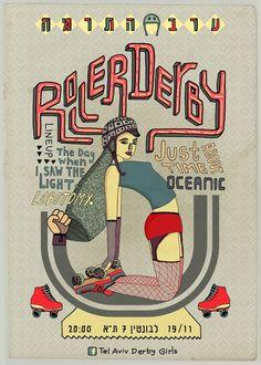 Tel Aviv Roller Girls poster. Super style!