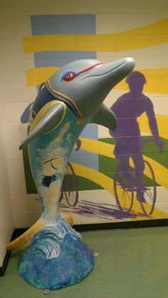 Triathlete Dolphin may be seen at the Florida Welcome Center US 231, 5865 Hwy US 231, Campbellton, FL  Artist:  Vanessa Montenegro Sponsor:  City of Clearwater #ClearwatersDolphins