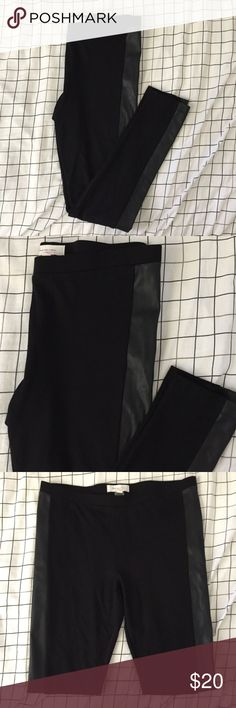 TWO by Vince Camuto Medium Leggings  Faux leather TWO by Vince Camuto Medium Leggings with Black Faux Trim leather sides  Size: Medium  Materials: Body:  67% Rayon 28% Nylon 5% Spandex Faux leather trim: Face side: 100% Polyurethane  Back side: 100% Polyester  Measurements: Waist:16in Hips:18in Rise: 10in Inseam: 28in Length: 38in Two by Vince Camuto Pants Leggings