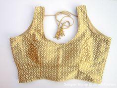 Golden Sleeveless Brocade Blouse Sari by JahanviFashionShop