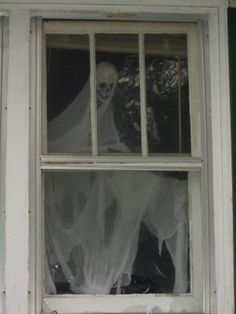 ghost in the window - @Nannette York this is what you should do with that skull you bought.