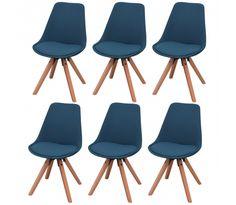 vidaXL Jedálenské stoličky, 6 ks, látkové, modré (243568+243569)
