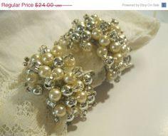 ON SALE Vintage Bridal Faux  Pearl  & Silver by Sisters2Vintage