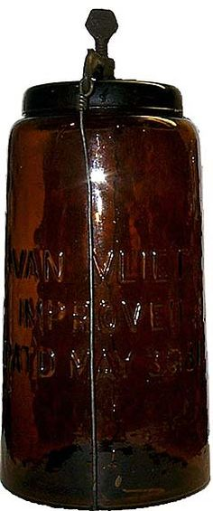 Antique Vintage Decor VAN VLIET jar with closure in very rare amber. Only 2 examples known to exist. Vintage Mason Jars, Vintage Bottles, Vintage Glassware, Vintage Perfume, Antique Glass Bottles, Bottles And Jars, Glass Jars, Perfume Bottles, Ball Canning Jars