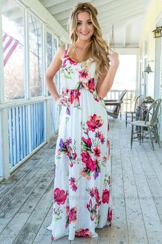 5e9b86dc2d Lean On Me Floral Spaghetti Strap Maxi Dress In Ivory - Filly Flair Filly  Flair
