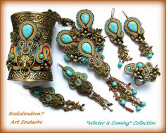 Soutache earrings bold and unusual Winterfell by rododendron7