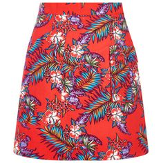 House Of Holland Poplin Patch Pocket Skirt ($77) ❤ liked on Polyvore featuring skirts, mini skirts, bottoms, floral skirt, short red skirt, short mini skirts, floral print skirt and a line mini skirt