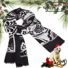 """Vera Bradley Soft Wool Scarf black/white/grey 🎉HP 🎉HOST PICK🎉 100% wool scarf is so fine, delicate and light you can use it year round to pretty up any outfit. Sophisticated yet fun black, white & grey Midnight Paisley pattern to coordinate with a multitude of colors and Vera Bradley matching accessories. Hard to find! Approx 23""""x72"""" oblong with frayed edges. Listing is for one scarf only; see my closet for Hair Iron Cover listing & Night & Day cosmetic bag & mini hipster crossbody. Note…"""