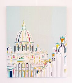 Vatican Rome Skyline, Canvas Framed, Wall Art print, St Peters Cityscape, Religious, Baptism, Art Print, Poster. For home, office, nursery