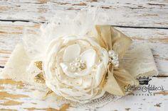 Baby Headband Gold Ivory Cream ATHENA by Littleaddiesboutique, $28.50