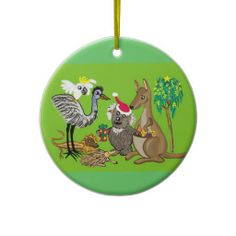 Santa in Australia Christmas Tree Ornaments