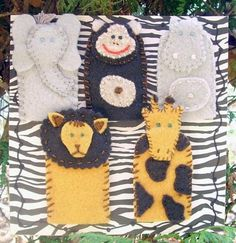 felt finger puppets - African Animals