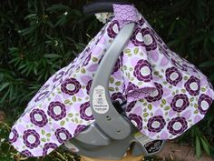 Baby Girl's Car Seat Cover Purple White Flower by kadydiddesigns, $33.00