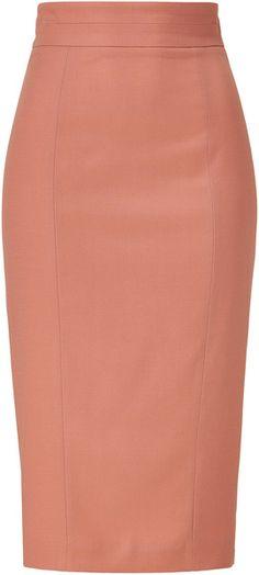 L'Wren Scott ~ Burnt Coral High Waisted Pencil Skirt