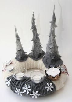 Adventskranz aus Filz - mal etwas ganz anderes und sehr schön gestaltet...