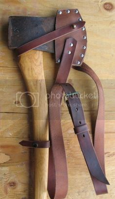 Self made leather axe sheath and axe sling for heavy axe | Bushcraft USA Forums Axe Sheath, Leather Projects, Leather Crafts, Arm Armor, Diy Projects To Try, Leather Tooling, Bushcraft, Belt, Accessories