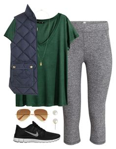 """""""Cool weather"""" by bda-prep ❤ liked on Polyvore featuring H&M, NIKE, Ray-Ban, J.Crew and Carolee"""