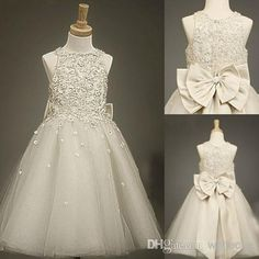 100% Real Picture! 2015 Hot Jewel Neck Beaded Lovely Flower Girl Dresses Tulle Bow Crystals Tea Length A-line Zipper Girls Party Dress Gowns, $72.99   DHgate.com
