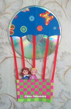 Recycled Cd Crafts, Old Cd Crafts, Fun Crafts, Easter Crafts For Kids, Summer Crafts, Diy For Kids, Kindergarten Art, Preschool Crafts, Pasta Crafts