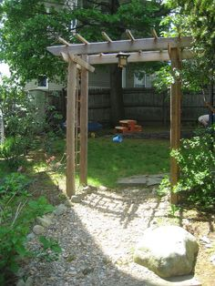 Build a Wooden Garden Arbor Perfect archway for when we move the connex, can have on side of garage going to backyard? or by lilac tree? Metal Arbor, Wooden Arbor, Wooden Garden, Arbors Trellis, Garden Trellis, Wisteria Trellis, Garden Steps, Diy Garden, Outdoor Projects