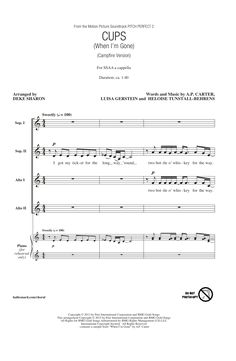 Cups (When I'm Gone) (arr. Deke Sharon) Sheet Music