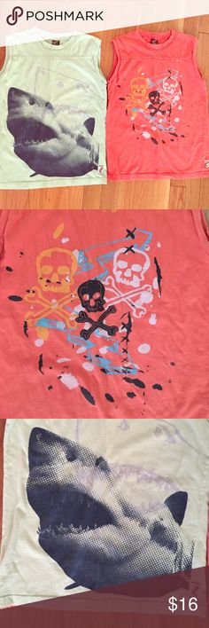 Charlie Rocket set of 2 boys muscle tanks. Sz 5. Charlie Rocket set of 2 boys muscle tanks.  Light green with shark graphic, and orange with skull/crossbones graphic.  Size 5.  Excellent condition. Charlie Rocket Shirts & Tops Tank Tops
