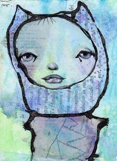 Cool! Mixed-Media Art That Is ... Unusual. Art by Karen O'Brien, featured at ClothPaperScissors.com. #InkTober #mixedmedia #art