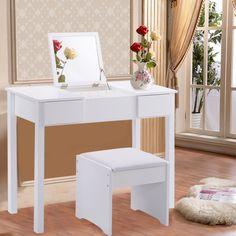 SEA223 Masă se toaletă albă, cu oglindă rabatabilă - http://www.emobili.ro/cumpara/sea223-set-masa-alba-toaleta-cosmetica-machiaj-oglinda-masuta-scaunel-808. #eMobili