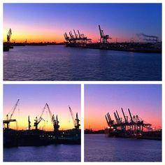 Morniglight über dem Hafen von Hamburg