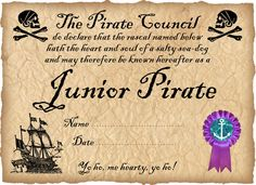 Junior Pirate Certificate (Ready to personalise) Pirate Day, Pirate Life, Pirate Birthday, Pirate Theme, 4th Birthday, Birthday Parties, Teach Like A Pirate, Pirate Names, Pirate Activities