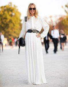 A sweeping, covered-up '70s white dress is Rachel Zoe's new solution to her ubiquitous boho maxi. #HarpersBAZAAR #SpringStyle