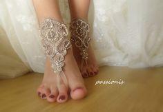 Dentelle Champagne Barefoot sandales, chaussures Nu, bijoux de pieds, de mariage, sexy, mariage de plage sandales aux pieds