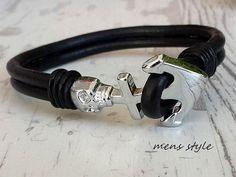 Mens Anchor Bracelet Skull Leather Bracelet  Handmade by tovvanda