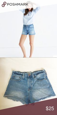 Madewell Perfect Jean Short 26 EUC From Madewell: PRODUCT DETAILS We remade our vintage-inspired Perfect fit jeans into a just-right pair of cutoffs (no scissors required). With an easy tall rise that you can wear high at the waist or low and slouchy, these supersoft shorts are instant classics.  EUC, fit TTs (high rise) 100% Cotton Madewell Shorts Jean Shorts